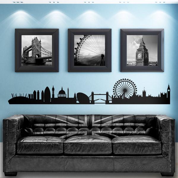 london skyline giant home mural vinyl wall art sticker- bedroom