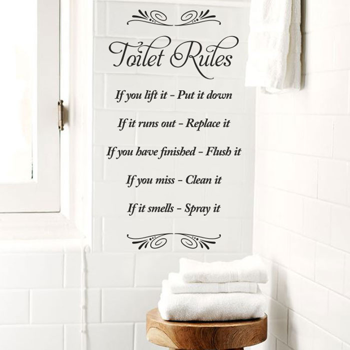 toilet rules vinyl wand badezimmer kunst aufkleber bertragung wohndeko ebay. Black Bedroom Furniture Sets. Home Design Ideas
